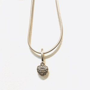 🎆NWT Intricate Heart Lock Snake Chain Necklace